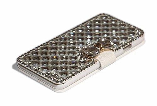 iPhone 6Plus/6S Plus Fall, Handwerk von jabit Luxus Bling Strass Wallet Schutzhülle Ultrathin magnetischem Ständer Leder Buch Kristall Schutzhülle 3Farben, Weiß