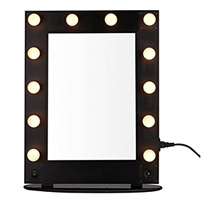 UNHO Broadway Hollywood Vanity Mirror 12 LED Bulbs Makeup Mirror Artist Stage Mirror Dressing Room Table Top or Wall Mounted Dressing Table Size:50X65X2.5 CM