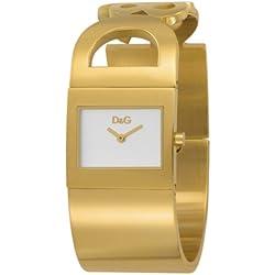 D&G Dolce&Gabbana DW0222 - Reloj analógico de mujer de cuarzo con correa de acero inoxidable dorada - sumergible a 30 metros