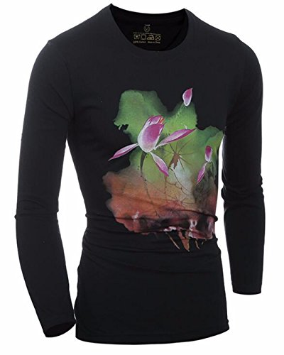 Men's 3D Lotus Printed O-Neck Long Sleeves Top Tee Shirt Black