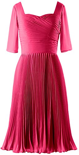 MACloth Women Half Sleeves Mother of Bride Dress Chiffon Cocktail Formal Gown Fuchsia