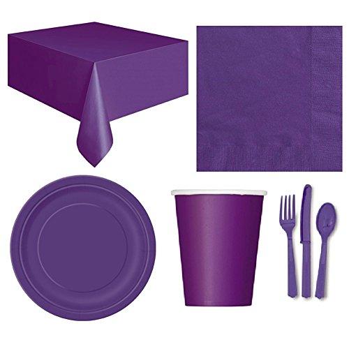 (Pengyu Einweg Party Hochzeit Event Geschirr Tischdecke Serviette Teller Tasse Besteck Set, violett, Einheitsgröße)
