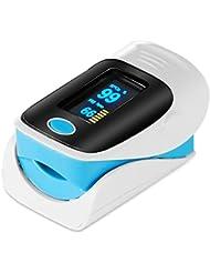 GRDE Oxymètre de Pouls SpO2 (saturation en oxygène dans le sang) et moniteur de fréquence cardiaque, Certifié CE et FDA, battéries AAA incluses (Bleu)