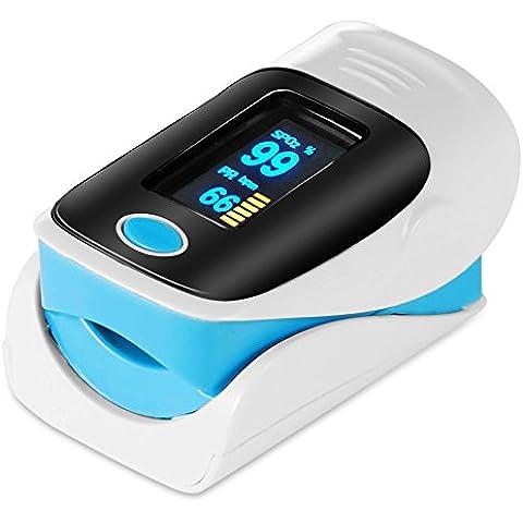 Oxímetro de Dedo GRDE, Medidor de Oxígeno en Sangre y Monitor de Frecuencia Cardíaca con Pantalla OLED, Pulsioxímetro Oxígeno en Sangre para Adultos y Niños - Color