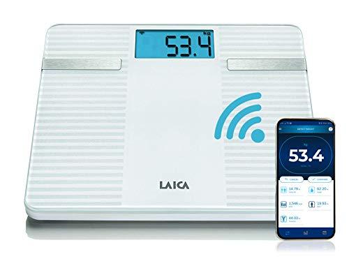 Laica PS7003 Smart Bilancia Pesapersone Elettronica | Misurazione Digitale Indice Massa Corporea, Bianco | Tecnologia Bluetooth per Smartphone | Free App Scaricabile da Play Store e App Store