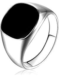 LANDFOX Sólido pulido de acero inoxidable Band Biker hombres signet anillo negro plata