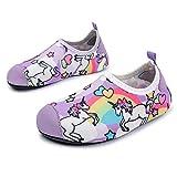 JOINFREE Niños Niñas Nadar Zapatos para el Agua Deportes acuáticos Calcetines Zapatillas Zapatos para la Piscina (Unicornio Arcoiris,24-25)