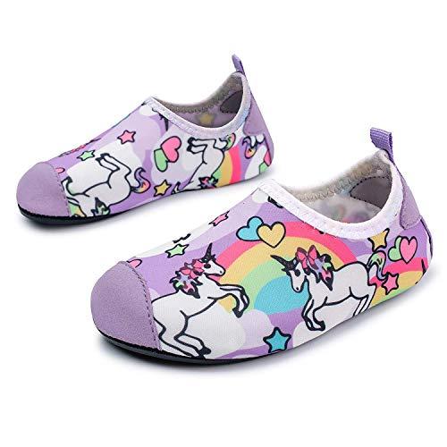 JOINFREE Baby Mädchen niedlich Rainbow Unicorn Wasser Schuhe Socken Bequeme leichte Strandschuhe schnell trockene Poolschuhe, 34-35 EU