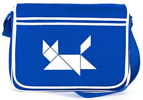 Shirtstreet24, Tangramm Katze, Tier Retro Messenger Bag Kuriertasche Umhängetasche Royal Blau