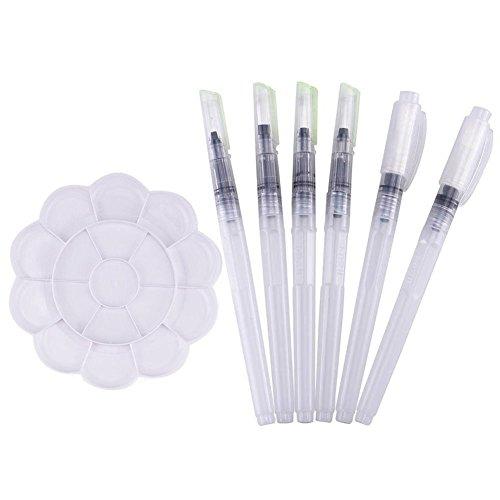 Ciaoed 6 Stück Wasser Brush Pens wasserlösliche Stifte Pinsel Stifte mit Tray Mischpalette in Blumenform