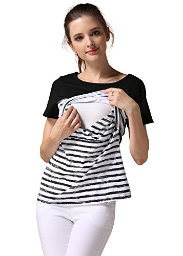Emotion Moms Damen T-Shirt, Gestreift Gr. M, schwarz (Maternity Mom T-shirt)