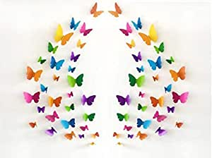 JAAMSO ROYALS Multi Colour 3D Colorful Crystal Butterfly Wall Stickers with Adhesive Art Decal Satin Paper Butterflies(29.5 X21 cm , Q3)