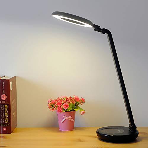 FGHHT Tischlampe LED Touch Schalter Stufenlos Dimmen Schreibtischlampe Ring Augenschutz Lesen Laden & Stecker USB Led Tischlampen - Keramik Glühbirne-ring