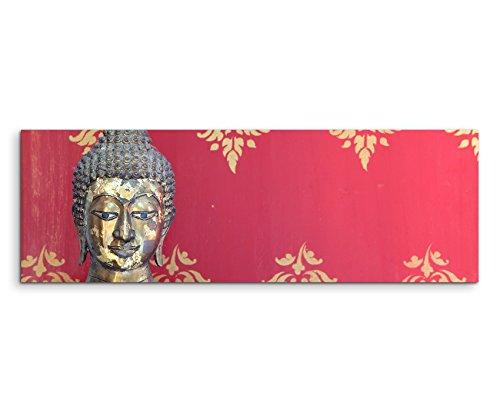 Wandbild 150x50cm Künstlerische Fotografie – Buddha Kopf mit rotem Hintergrund auf Leinwand für Wohnzimmer, Büro, Schlafzimmer, Ferienwohnung u.v.m. Gestochen scharf in Top Qualität
