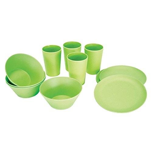 Preisvergleich Produktbild Picknick-Geschirr bestehend aus Tassen,  Schalen + Becher,  für bis zu 4 Personen geeignet,  Farbe: grün