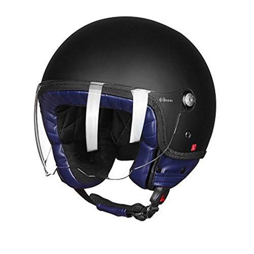 Preisvergleich Produktbild GSDZN - Motorrad Vintage Roller Helm Offenes Gesicht Retro Helm E-Bike Helm Moto Casco Half Helm Sicherheit Reiten - Motorradhelm, MatteBlack-M55-58cm