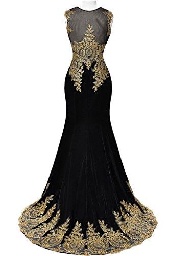 Sunvary 2015 Rund Mermaid Stickerei Lang Abendkleid Partykleid Ballkleider Grün