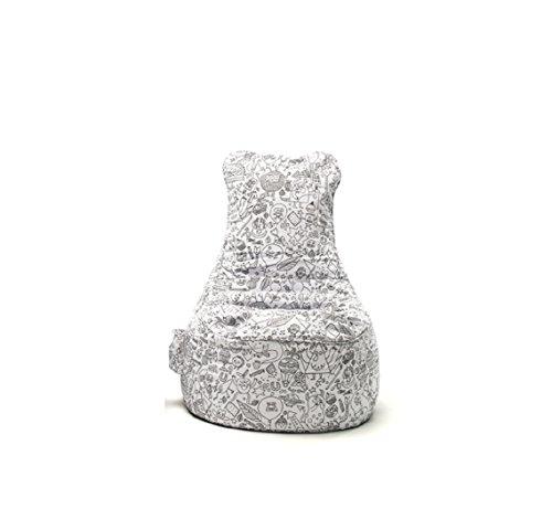 Sitting Bull Paint Me Sitzsack, weiß LxBxH 85x75x100cm inkl. 10 Textilstifte