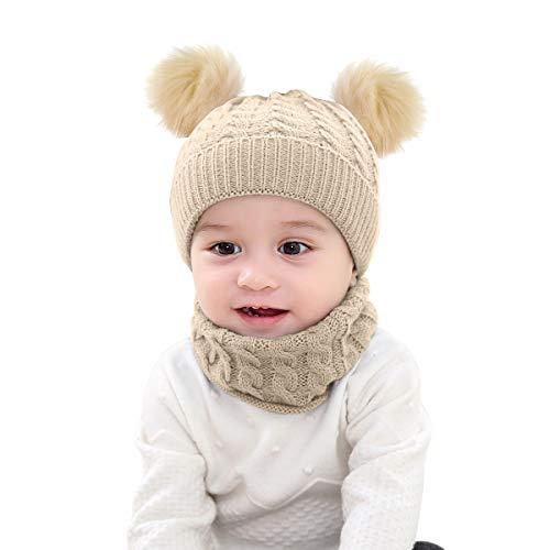 Borlai - Juego de 2 Piezas de Gorro de Invierno para bebé, Gorro de Ganchillo de Invierno con pompón, Gorro y pañuelo para el Cuello, Gorro de Ganchillo cálido de 1 a 6 años Beige Beige