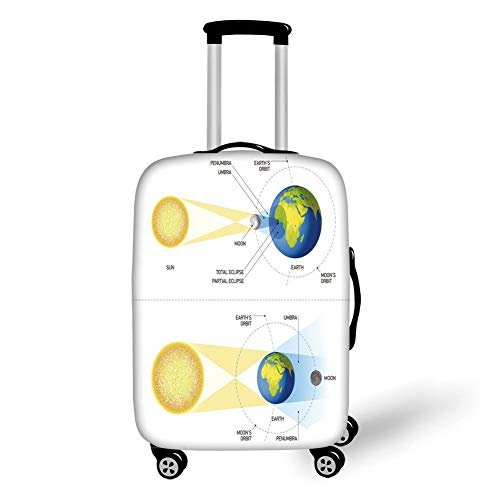 Travel Luggage Cover Suitcase Protector,Educational,Solar and Lunar Eclipse Planet Earth Sun Moon Orbit Astronomy Science Decorative,Blue Green Mustard,for Travel -