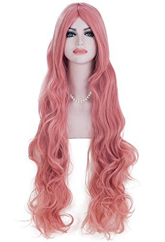Spretty Super Long Middle Part Pink Color Curly Wavy Wig