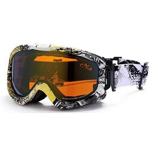 Skibrille Ski Goggles - Space PC, können Sie Gläser bringen, Ski Bergsteigen Erwachsene zylindrische Bilayer Film Antifogging Gläser (7 Farben optional) (Farbe : Graffiti Frame with Yellow Film) (Ping Film)