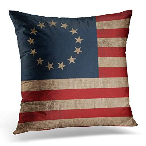 artyly Kissen KissenbezugWeinlese-Blick-frühe Flagge Kolonial-Betsy Ross patriotisch Decor Square Accent Pillowcase 45x45 cm