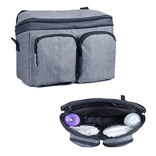 Hete-supply Mummy Bag Kinderwagen Organizer Große Kapazität Baby Tasche Tragbare Wickeltaschen Regenschirm Auto Aufbewahrungstasche Pflegetasche Leinen Grau