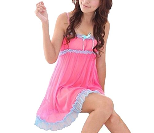 Sexy Honeymoon Lingerie for Women/Ladies and Girls Nightwear Super Soft Net Babydoll Intimate Erotic Dress Sleepwear Naughty Bold Bridal Wear (Pink) LH43PI by Lady Heart
