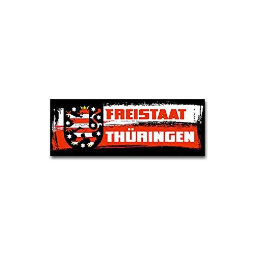 Aufkleber / Sticker -Freistaat Thüringen TH Bundesrepublik Deutschland Erfurt Binnenstaat Bunten Löwen Weiß Rot Flagge Fahne Wappen Abzeichen Emblem 19x7cm #A2009