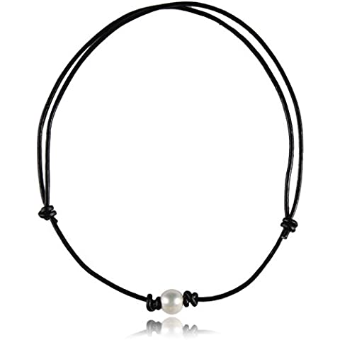 Barch Young One Single Pearl on Genuine Black Leather Cord Choker Necklace Adjustable for Girls of 12IN-24.5IN Adjustable Length