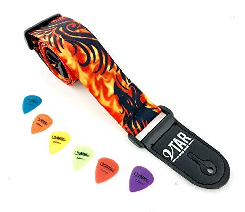 Drachen Flamme Orange Akustische/Elektrische/Bässe Gitarrengurt & 6 freie Plektren