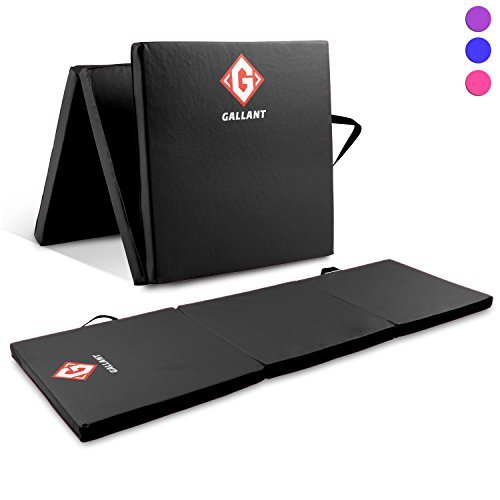 Gallant Black Gymnastics Mats Tri Folding 5cm Thick 180cm X 60cm - Non Slip PU Leather Tumble Track Yoga Gym Fitness Exercise Floor Equipment