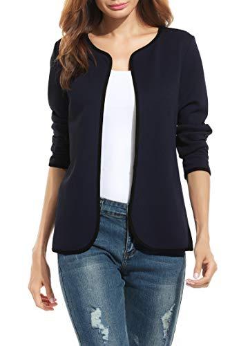 Stoff Blazer (Parabler Damen Herbst Strickjacke Cardigan Blazer Jacke Mantel Pullover Tops (EU 44/ XXL, Marine))
