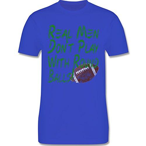 Football - Real men don't play with round balls - Vintage look - L190 Herren Premium Rundhals T-Shirt Royalblau