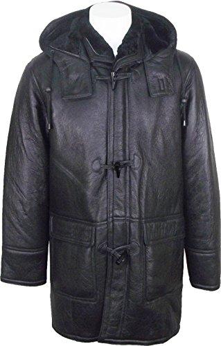 UNICORN Männer Echte Leder Jacke mit Kapuze Schaffell Dufflecoat - Echtepelz Mantel - Schwarz mit schwarzem Fell #CK Größe 50