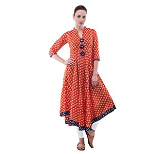 AnjuShree Choice Women Stitched Printed Cotton Anarkali Kurti