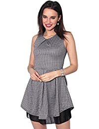 KRISP® Women Dogtooth Skater Dress Ladies Stretch Fit Flared Pleated Mini  Skirt Party 51737fd61