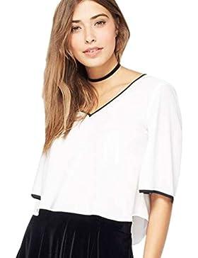 Yuncai Mujer Gasa Manga Corta Cuello en V Camisetas Blusas con Espalda Al Aire