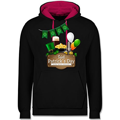 Festival - Saint Patrick's Day Happy music festival - Kontrast Hoodie Schwarz/Fuchsia