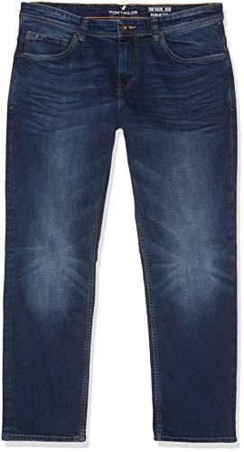 Tom Tailor Casual Herren Slim Jeans blaue gewaschene Jeans, Blau (Mid Stone Wash Denim 10281), Gr. W36/L30