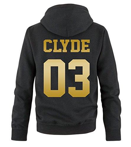 Comedy Shirts - CLYDE 03 - Herren Hoodie - Schwarz / Gold Gr. M