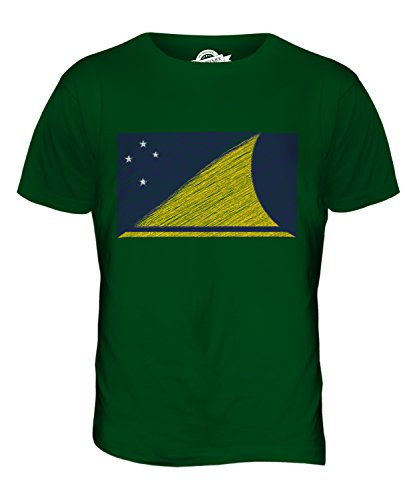 CandyMix Tokelau Bandiera Scarabocchio T-Shirt da Uomo Maglietta Verde bottiglia