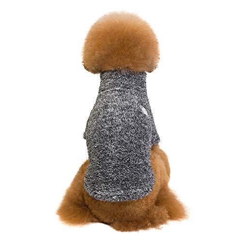 Amphia - Bekleidung Katze,Baumwollsamt gepolsterte Haustierkleidung - Haustier Hund warme Winterkleidung TurtleHals Coral Feece Warm Zwei-Bein-Kleidung(Schwarz,S)