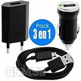 Chargeur wiko pulp 4g , chargeur secteur + chargeur voiture + câble USB pour pulp 4g pack 3 en 1