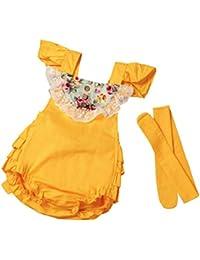 Monos Ropa Bebé Niñas SMARTLADY Pelele Bodies de Floral Estilo de Vestido + Banda de Cabeza (1 Conjunto)