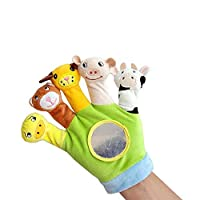 Hand Finger Plush Puppets Glove, Animal Finger Puppet for Children Early Education Toys for New Born Baby(Green)