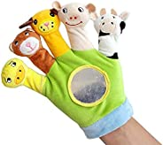 Hand Finger Plush Puppets Glove, Animal Finger Puppet for Children Early Education Toys for New Born Baby(Gree
