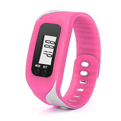 Activity Tracker, ihee digitale LCD pedometro Run Passo contatore Walking Distanza Calorie Calcolo Braccialetto Orologio da polso Activity Tracker, donna Uomo, C6, Hot Pink, 4.5 x 3.4 x 2.2cm