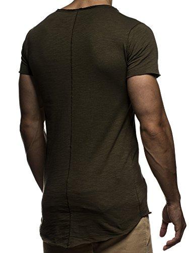 LEIF NELSON Herren oversize T-Shirt Rundhals Basic Shirt LN6281 Khaki